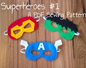 Ironman, Hulk and Captain America Felt Superhero Mask PDF Sewing Patterns and BONUS Printables
