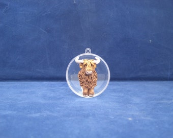One of a Kind Highland Coo / Highland Cow Christmas Ornament