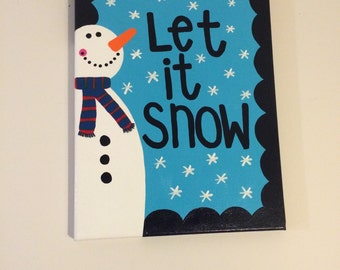 Let It Snow Winter Holiday Canvas // Ready to Ship!