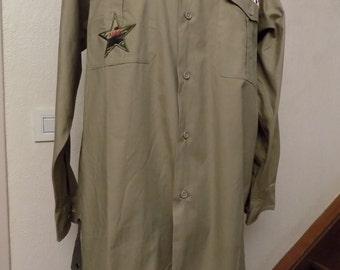Beige cotton long-sleeved shirt
