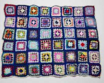 Handmade Granny Square Crochet Baby Blanket Cream and Blue 1022