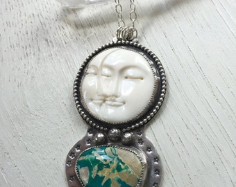 Moon of my Life- Carved Bone and Royston Turquoise Sterling Necklace