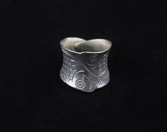 Handmade Sterling Silver Koi Fish Wrap Ring 'Koi Wrap'