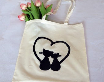Tote bag, cat lover gift, cat art, heart gifts, shopping bag, cat gifts, love heart, love art, cotton tote bag, cat tote bag, black cat