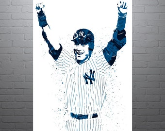 Derek Jeter New York Yankees, Sports Art Print, Baseball Poster, Kids Decor, Watercolor Contemporary Abstract Drawing Print, Man Cave