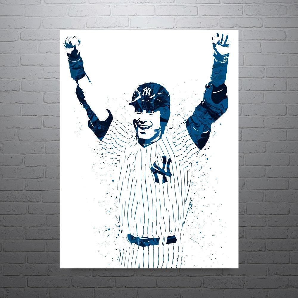 Color sheets derek jeter - Derek Jeter New York Yankees Sports Art Print Baseball Poster Kids Decor Watercolor Contemporary Abstract Drawing Print Man Cave