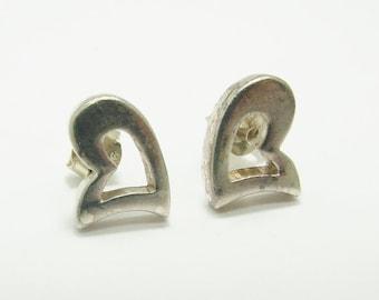 Vintage 925 Sterling Silver Heart Stud Earrings