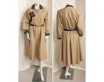 Vintage 1980s FRANK MASANDREA Belted Shirtwaist Dress Khaki Cotton with Appliques