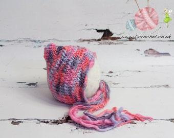 Baby Bonnet, Newborn Pixie Hat, Newborn Photo Prop, Newborn Props, Newborn Hat, UK Baby Photo Props, Baby Photography Props, UK Seller