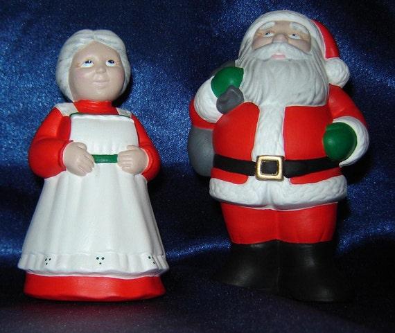 Mr and mrs claus figurines ceramic santa