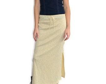 90s Floral Grunge Maxi Skirt Side Slit