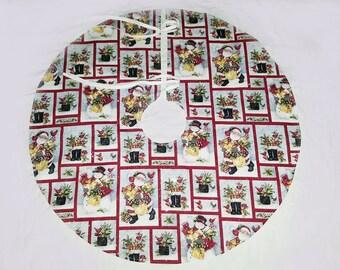 Christmas Tree Skirt, Santa, Snowmen, Cardinal