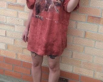 Vintage 90's hippy eagle style oversized tie dye tee-shirt dress