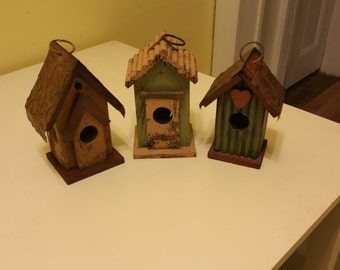 Feed the birds. Bird houses. 3 for 25.00, 1 for 15.00