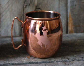 Moscow Mule - Wyoming Cowboys - Wyoming Moscow Mule - Copper Mug - University of Wyoming - Julep Cup - Custom Moscow Mule