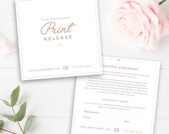Photography Print Release Template, Photography Form Template, Photoshop Template - INSTANT DOWNLOAD