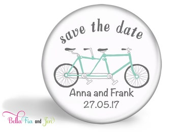 Save the Date Favour Magnet Set of 20  - Tandem Bike 5.7cm (2.25 inches)