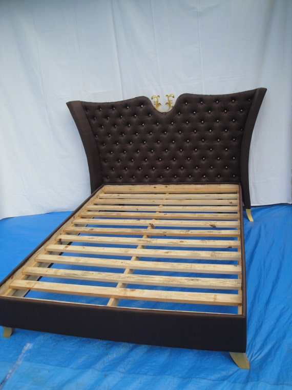 Uphlostered bedqueen bedbutton diamond by furnitureanomaly for Diamond bed frame