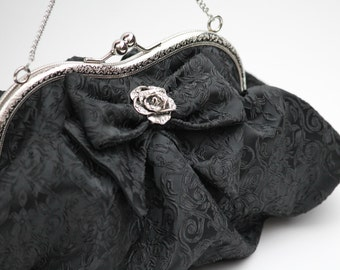 Black Clutch Bag, Gift for Her, Evening Bag (Lily D.)
