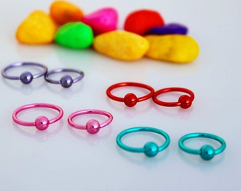Body Piercing Stainless Steel BCR  Bright Colors - Lip, Ear, Nose Ring.