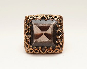 Beautiful Handmade Black Smoky Quartz Bronze Statement Ring