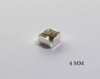 10 pcs Square Bezel Cups 4x4 mm Sterling Silver 925