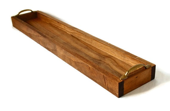Rustic table centerpiece wood tray long box