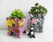 Floral cement planter - unique handmade gift for indoor gardening - pink and aqua blue concrete planter succulent flowers cactus herbs