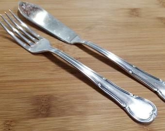 Vintage MERIDIONAL Silver ELEGANT Dessert/Fish Fork & Knife Set of 2, Brazil