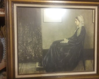 "Framed Large Print Under Glass of ""Whistlers Mother""..Excellent Condition"