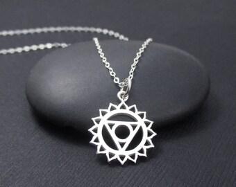 Throat Chakra Necklace Sterling Silver, Throat Chakra Charm Pendant, Chakra Jewelry, Yoga Jewelry, Yoga Gift, Yoga Spirit