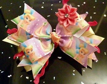 Tinkerbell, Disney Princess Hair Bow Clip's 4inch