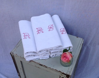 Beautiful antique French linen cotton white damask raspberry embroidered monogrammed large napkins RS trousseau dowry wedding  x 7