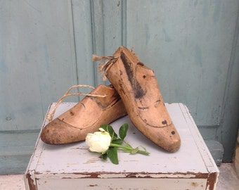 Evocative pair of antique French ladies  wooden shoe lasts - cobblers forms