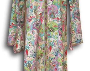Designer Vintage Preppy Hooded Tunic / Coverup Beach Pool Kaftan