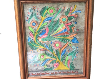 Framed Hand Painted Amate Mexican Folk Art