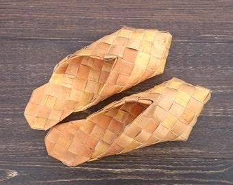 massage slippers, house shoes, vintage, bast shoes, birch bark, wicker shoes, sandals, lapti, bast sandals, birchbark, foot massage,