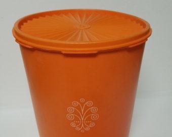 Large Vintage Orange Tupperware Canister!