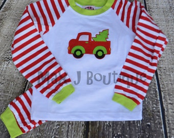 Monogrammed Applique Truck Santa Childrens Christmas Pajamas - Personalized Christmas Pjs