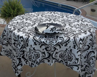 SALE!  White and black damask table runners