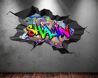 Personalised Custom Graffiti Name Wall Art Stickers Decor For Kids Vinyl Decals Murals Graphics WSD182
