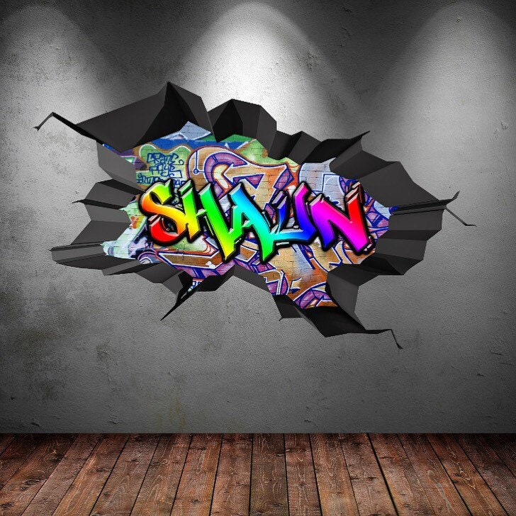 Personalised Custom Graffiti Name Wall Art Stickers Decor For