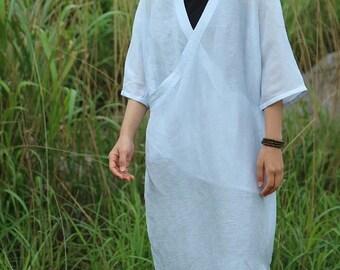 light blue sheer silk linen dress BonLife