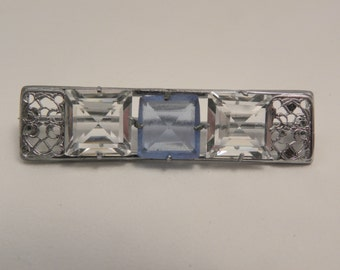 Vintage Art Deco Silver Filigree Blue & Clear Glass Brooch
