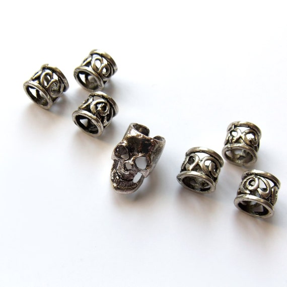 Skull, Metal hair beads, Beard rings, Beard bead, Braid ...