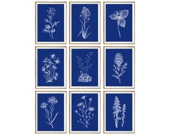 Blue Floral Art Print SET of 9. blue home decor, blue wall art, blue art print, blue botanical set, blue botanical prints, blue floral set