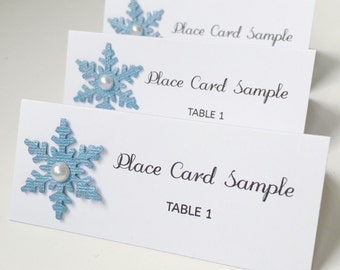 Wedding Place Card | Custom Place Card | Winter Wedding | Blue Place Card | Snowflake Place Card