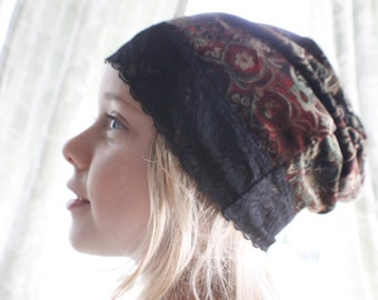 Lace, velvet,  hat, winter hat, slouchy hat, slouch, fall hat, upcycled, gift, stretch, kids, adult, gift for her  him sweet olive couture