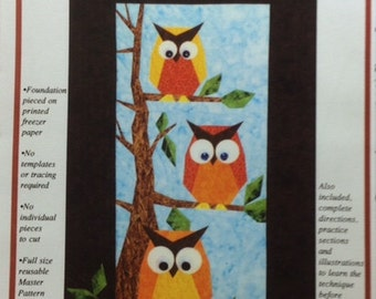 HOOTERS Foundation Paper Pieced Art Quilt Pattern-The Designer's Workshop owl