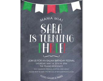 3rd Birthday Party 5x7 Invitation - Italian Festival - Chalkboard and Pennant Banner - Printable and Personalized